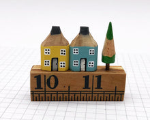 Load image into Gallery viewer, Pair of Pencil Houses Ruler Street Yellow and Blue