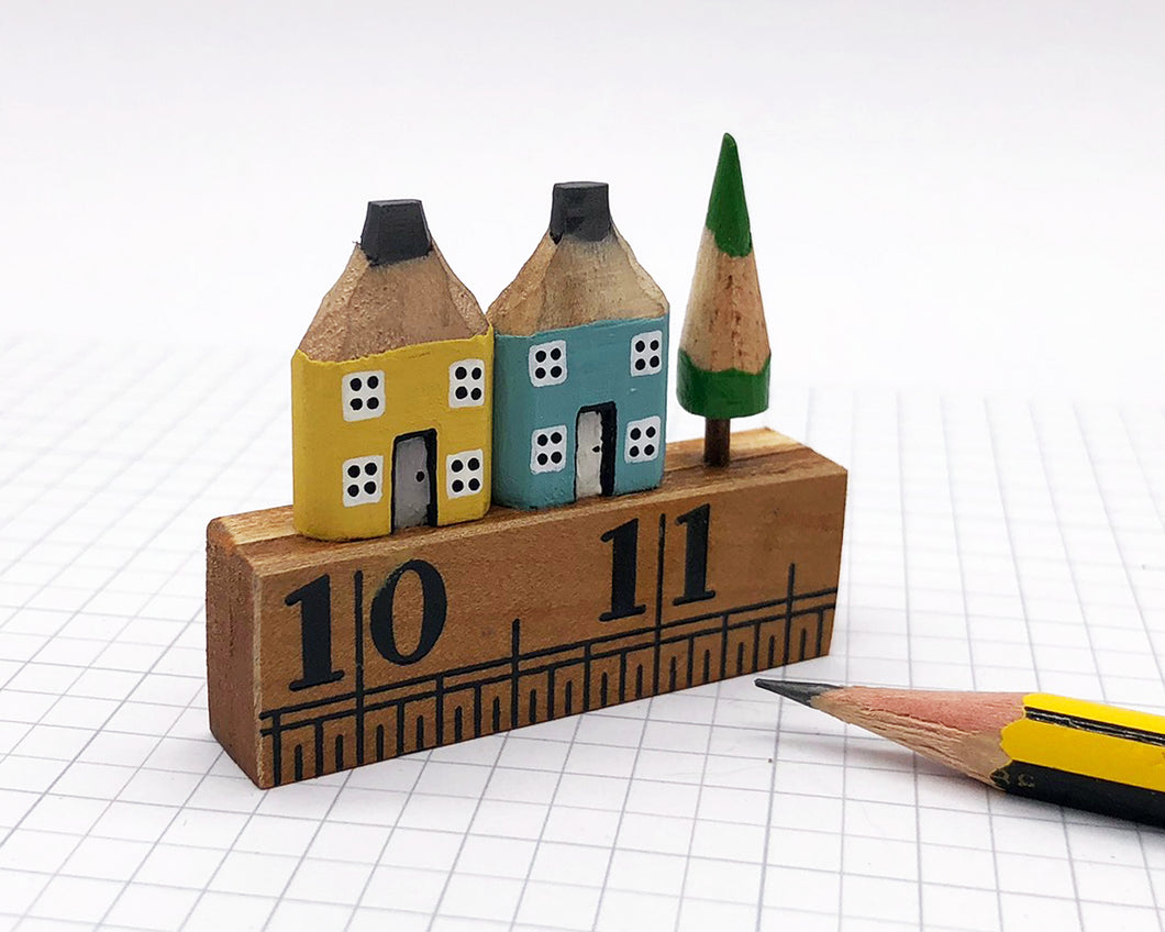 Pair of Pencil Houses Ruler Street Yellow and Blue