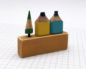 Pair of Pencil Houses Ruler Street Blue and Yellow