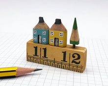 Load image into Gallery viewer, Pair of Pencil Houses Ruler Street Blue and Yellow