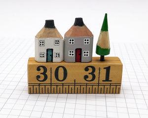 Pair of Pencil Houses Ruler Street White and Grey
