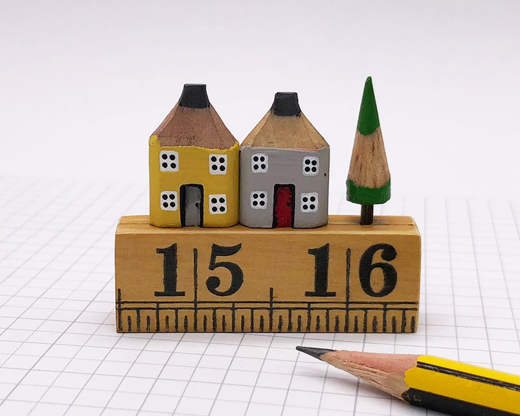 Pair of Pencil Houses Ruler Street Grey and Yellow