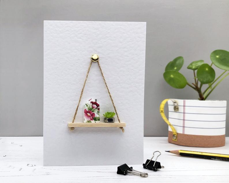 Floral House and Plant Shelf Greeting Card - Handmade A6 Card - Suitable for any Occasion