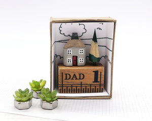 Miniature Wooden House in Gift Box - Little Pencil House and Tree on Ruler - Gift for DAD, Choice of Colours