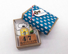 Load image into Gallery viewer, Personalised Wooden House in Gift Box - Little Pencil House on Ruler, Choice of Colours