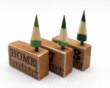 Load image into Gallery viewer, Wooden House in Gift Box - Little Pencil House and Tree on Ruler - HOME, Choice of Colours