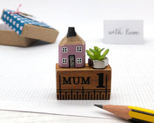 Load image into Gallery viewer, Miniature Wooden House in Gift Box - Little Pencil House and Plant on Ruler - Gift for MUM, Choice of Colours