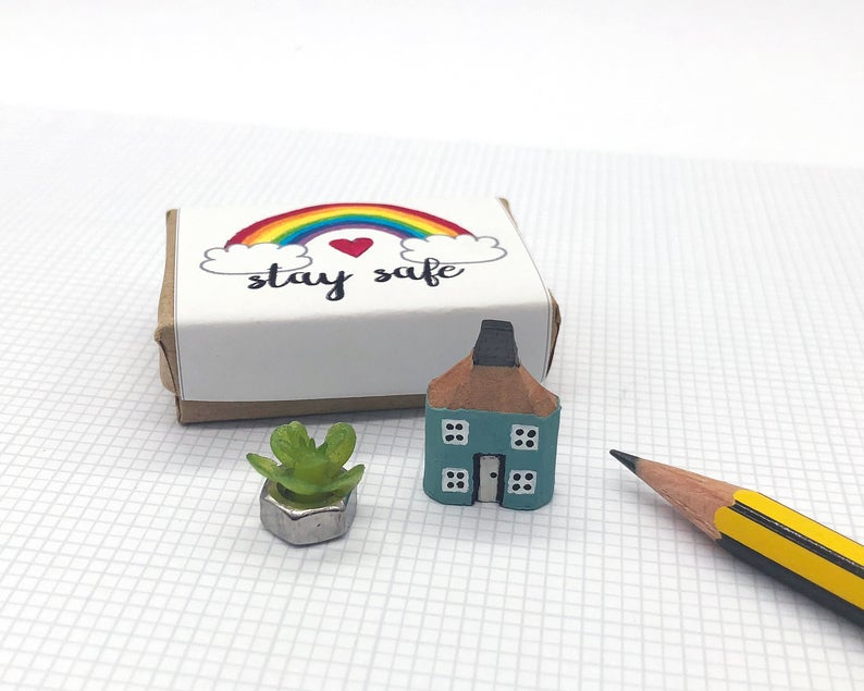 Miniature House in Box - Missing You, Rainbow Stay Safe Gift