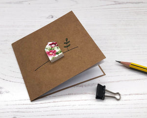 Handmade Floral House, Square Kraft Card - Suitable for any Occasion