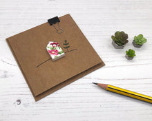 Load image into Gallery viewer, Handmade Floral House, Square Kraft Card - Suitable for any Occasion