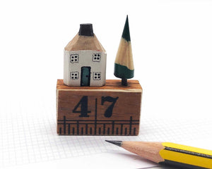 Personalised Wooden House in Gift Box - Little Pencil House on Ruler, Choice of Colours