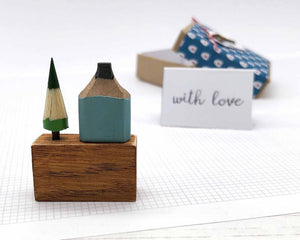 Wooden House in Gift Box - Little Pencil House and Tree on Ruler - HOME, Choice of Colours