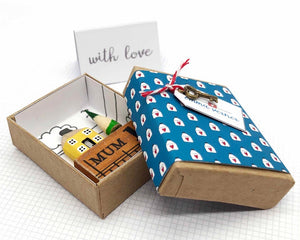 Miniature Wooden House in Gift Box - Little Pencil House and Tree on Ruler - Gift for MUM, Choice of Colours