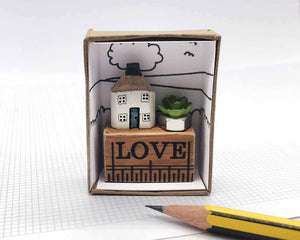 Wooden House in Gift Box - Little Pencil House on Ruler - LOVE, Choice of Colours