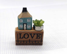 Load image into Gallery viewer, Wooden House in Gift Box - Little Pencil House on Ruler - LOVE, Choice of Colours