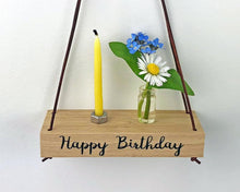 Load image into Gallery viewer, Miniature Oak Hanging Shelf - Happy Birthday