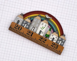 Rainbow Vintage Ruler Street with Bird