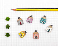 Load image into Gallery viewer, Miniature Wooden House in Gift Box - Little Pencil House and Tree on Ruler - Gift for MUM, Choice of Colours