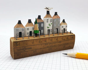 White and Grey Houses With Bird on Ruler Street Diorama