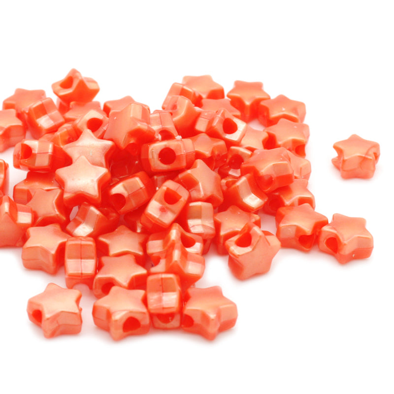 Bath Pearl Orange Plastic Star Pony 13mm-Pack of 200