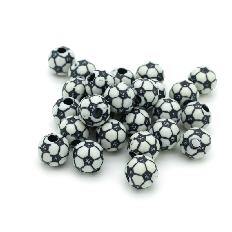 Football Black Plastic Round 10mm-Pack of 50