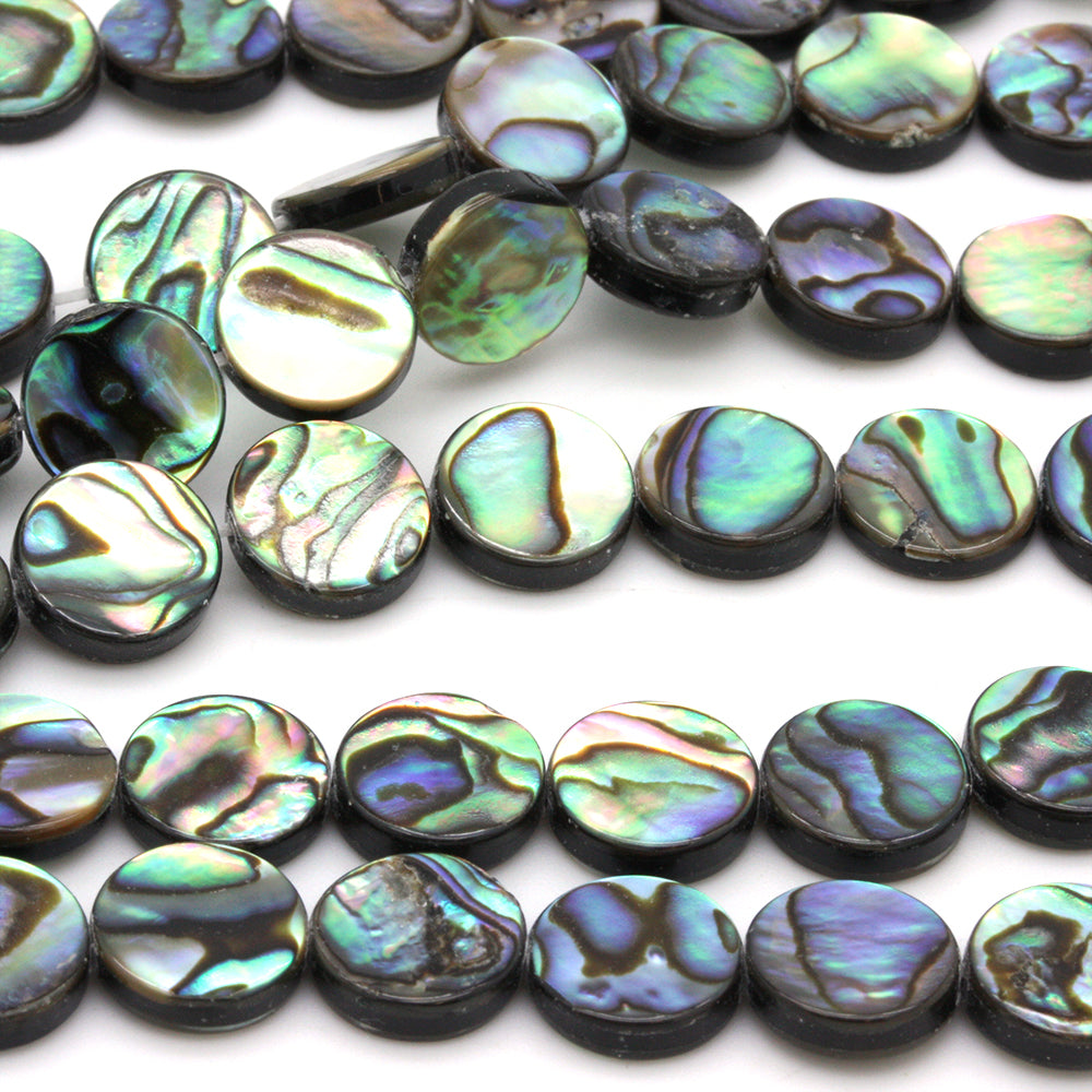 Abalone Coin Beads 10mm - 40cm Strand