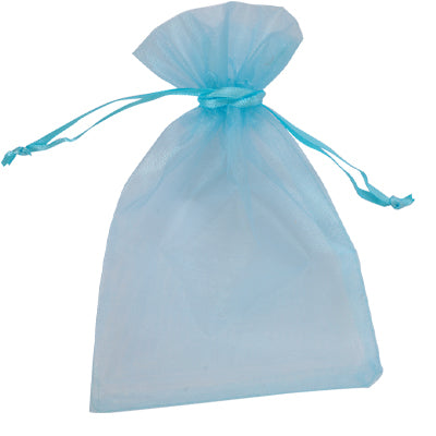 Organza Gift Bag Sky Blue 100x150mm-Pack of 10