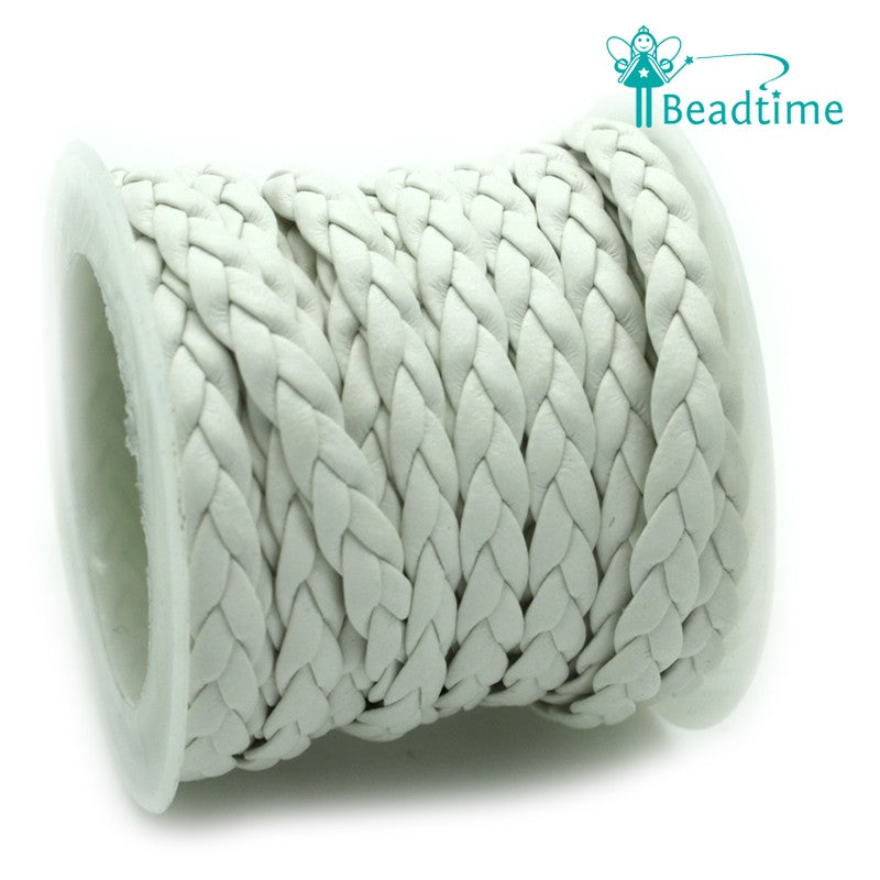Braided Faux Leather White 5x2mm - Reel of 2.5m