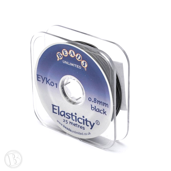 Elasticity Thick Black 0.8mm-Reel of 25m