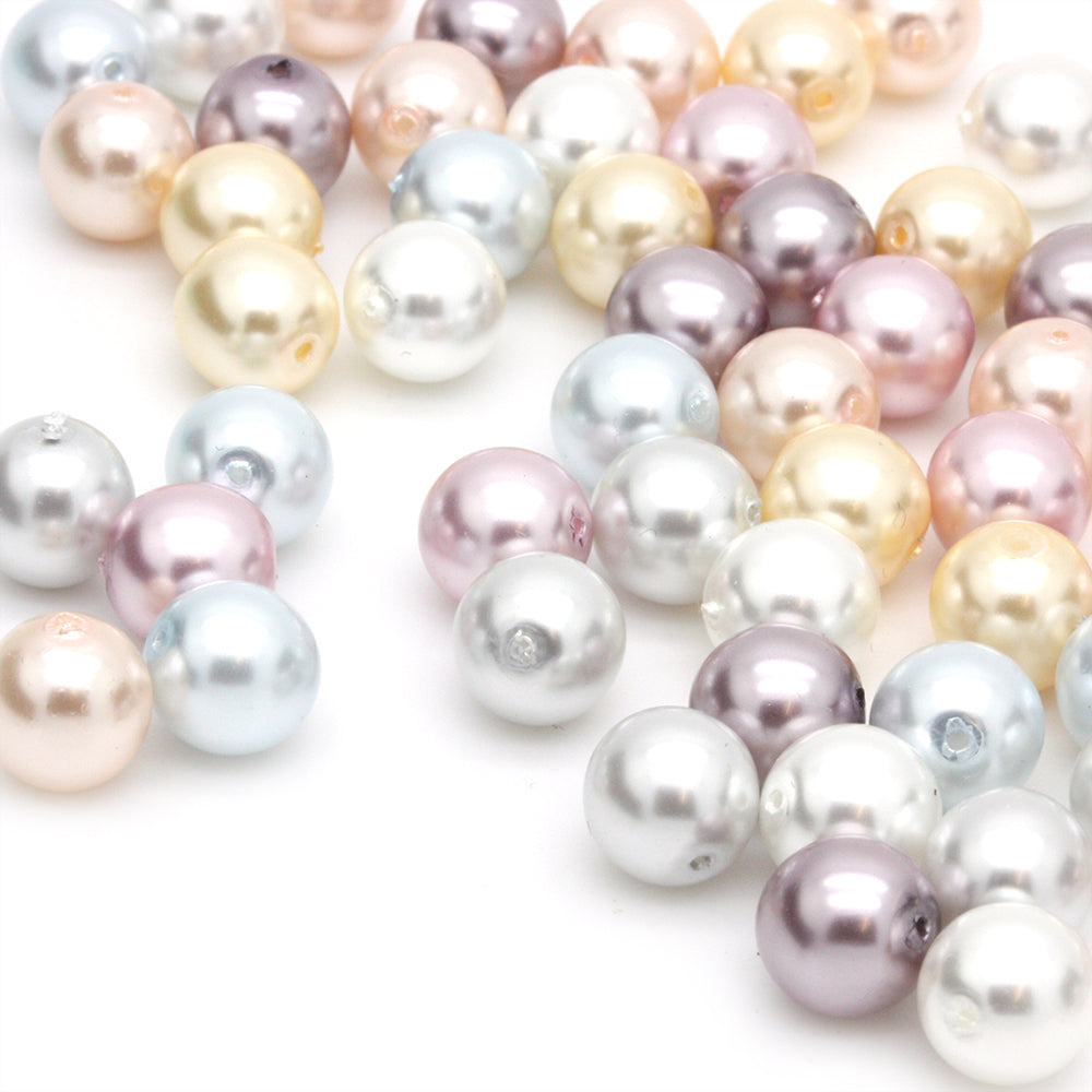 Pearl Mix Glass Round 8mm-Pack of 50