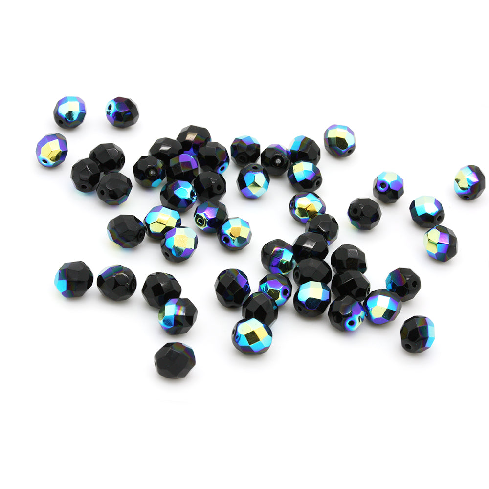 AB Bead Fire Polished Black Glass Faceted Round 8mm-Pack of 50
