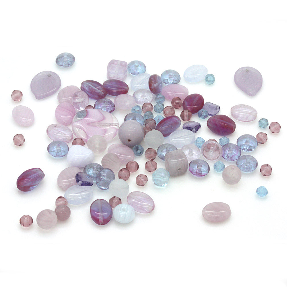 Czech Pressed Glass Mix Lilac Light - Pack of 50g