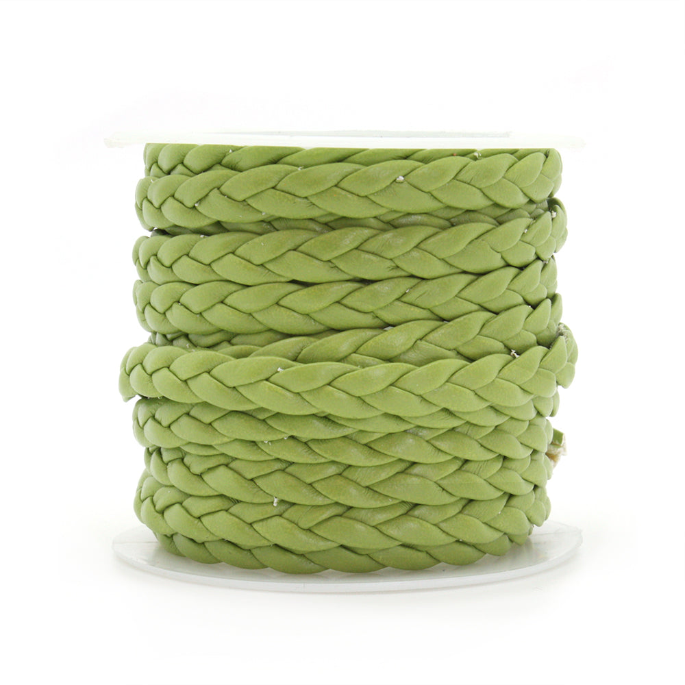 Braided Faux Leather Bright Green 5x2mm - Reel of 2.5m