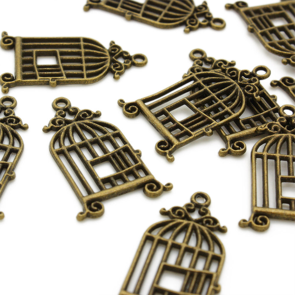 Bird Cage Antique Gold 30x21mm-Pack of 10