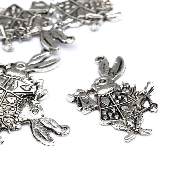 Alice Rabbit Antique Silver 31x24mm-Pack of 20