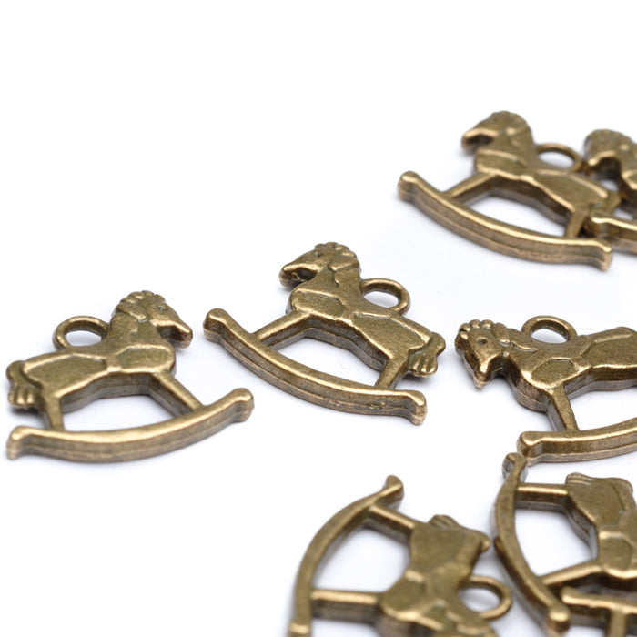 Rocking horse Pendant Antique Gold 18x20mm-Pack of 20