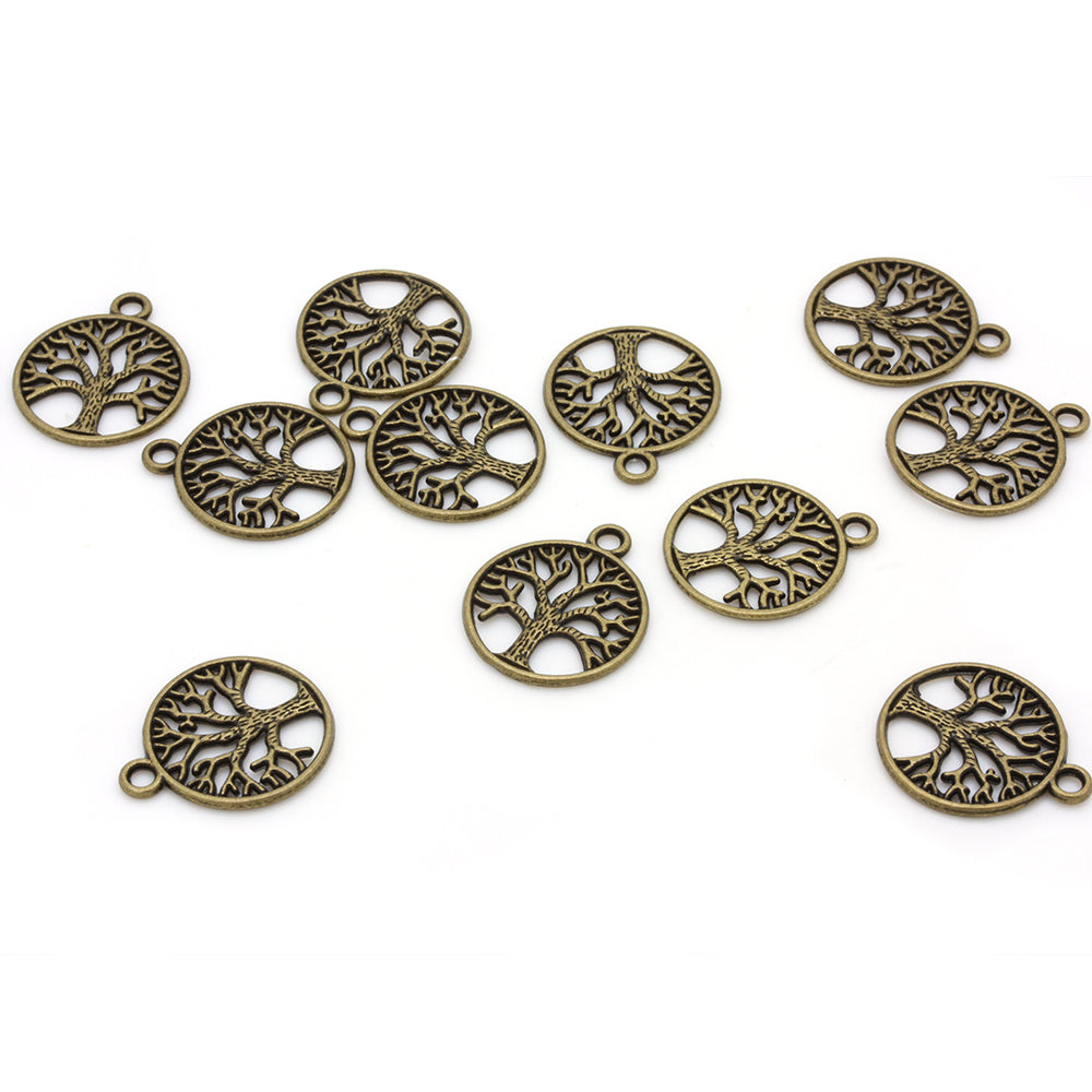 Tree of Life Stencilled Pendant Antique Gold 25x20mm - Pack of 50