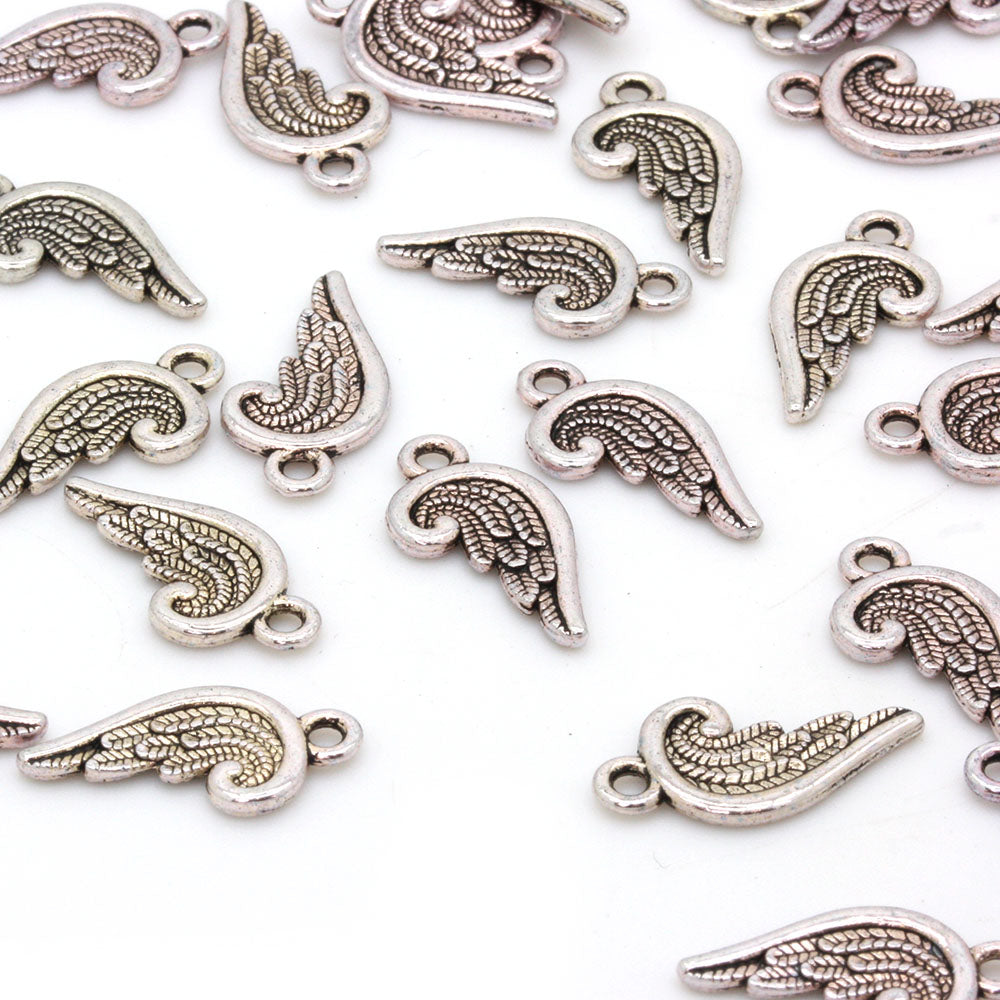 Wing Antique Silver 18x9mm - Pack of 1