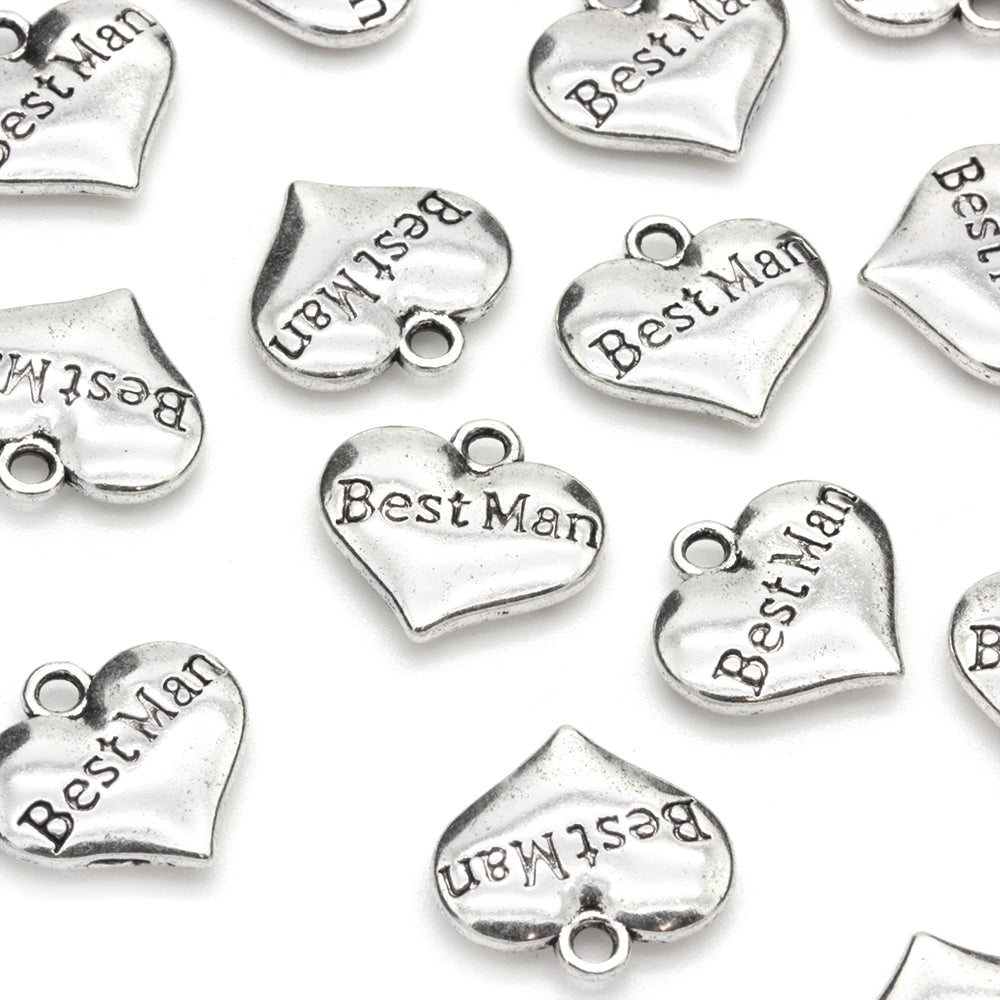 Best Man Heart Antique Silver 14x15mm - Pack of 1