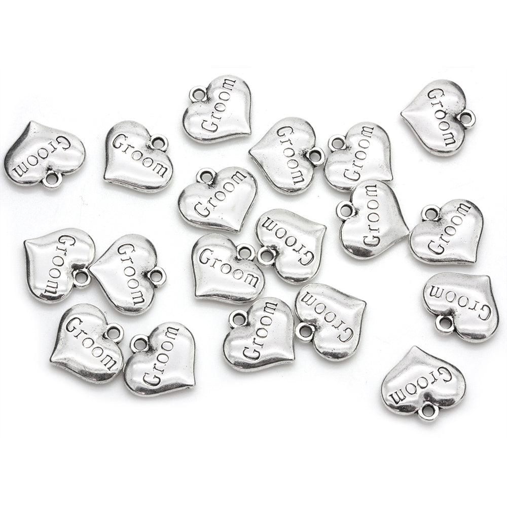 Groom Heart Antique Silver 14x15mm - Pack of 1