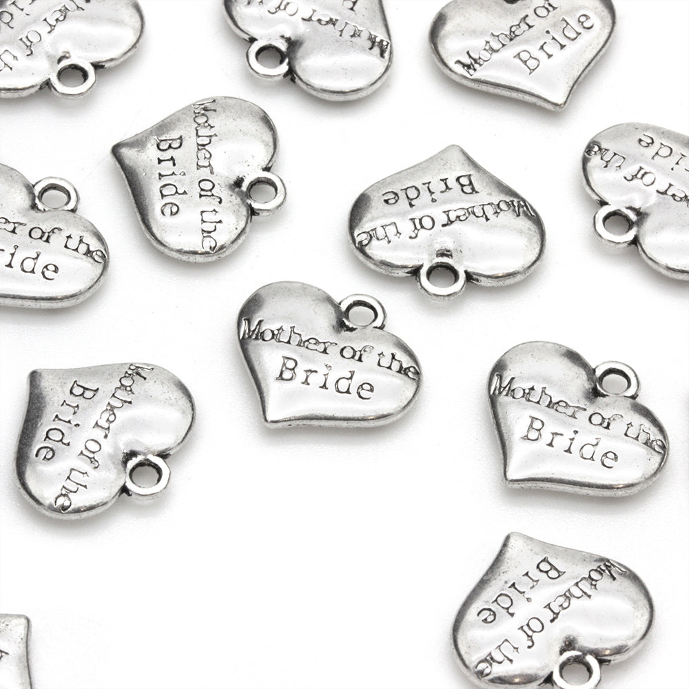 Mother of the Bride Heart Antique Silver 14x15mm - Pack of 1