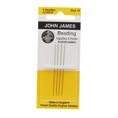 Metal Beading Needles Size 10  - 1 Pack of 4 Needles