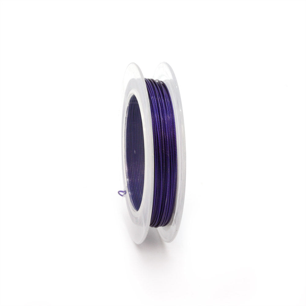 Plastic Coated Purple Beading Wire 0.45mm-Reel of 10m