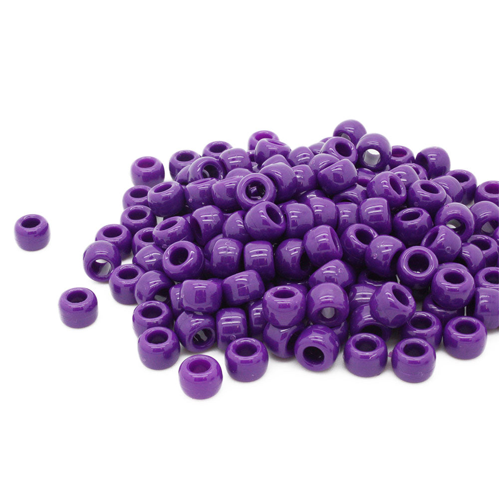 Neon Purple Plastic Barrel Pony 6x8mm-Pack of 500