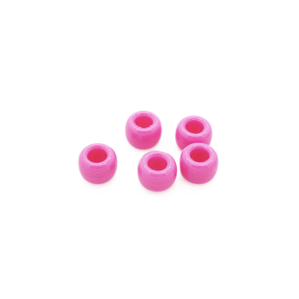 Opaque Pink Plastic Barrel Pony 6x8mm-Pack of 25