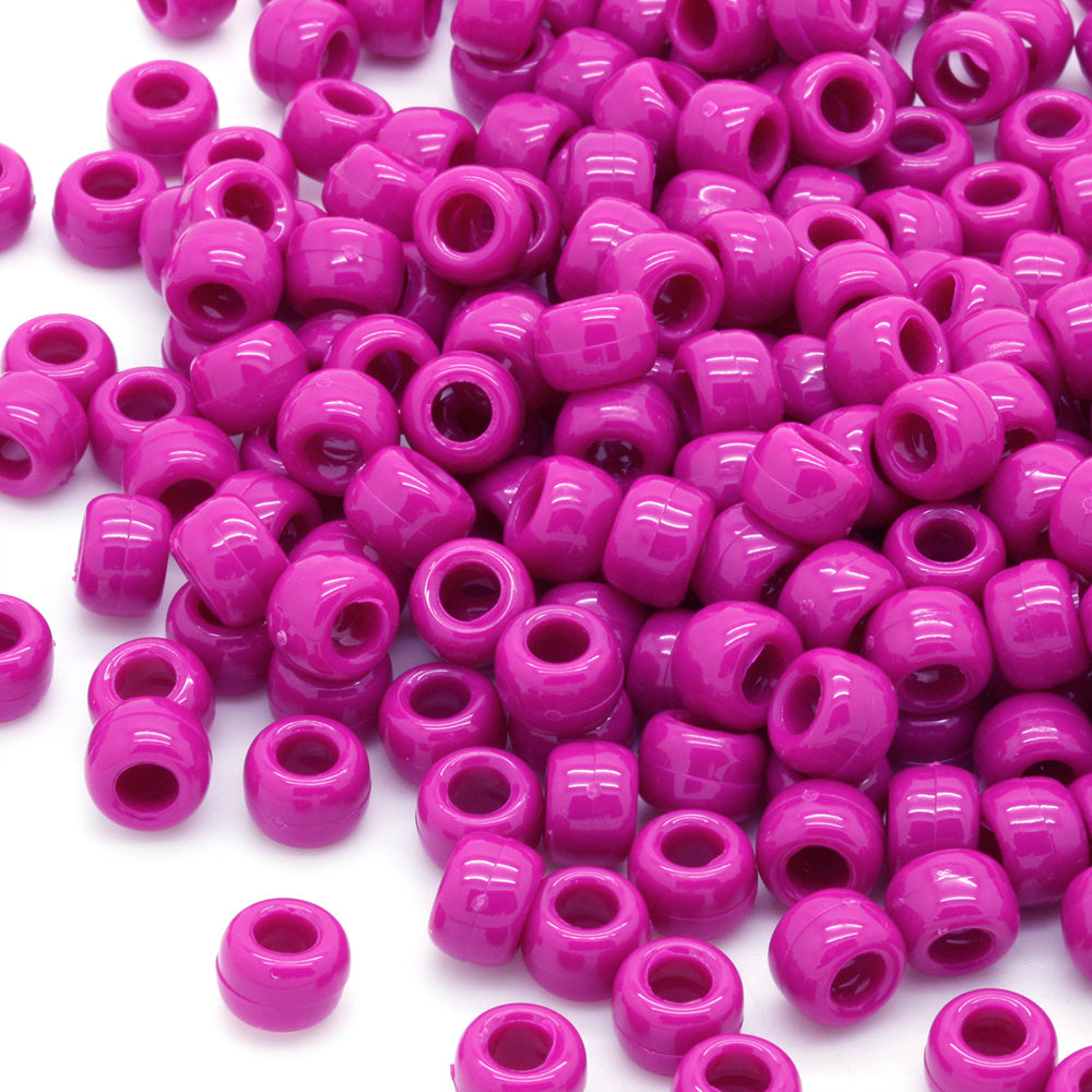 Opaque Mulberry Plastic Barrel Pony 6x8mm-Pack of 25