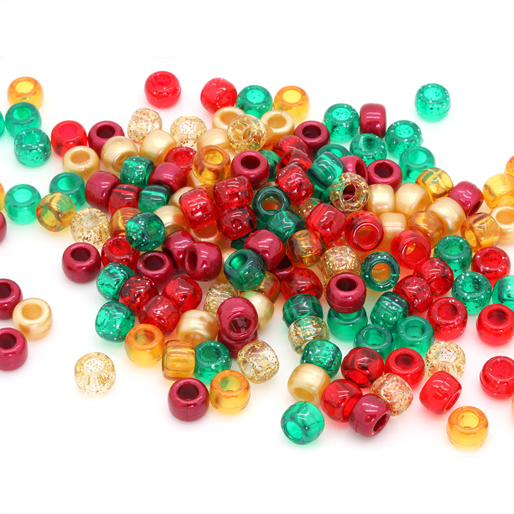Christmas Plastic Barrel Pony Mix 6x8mm-Pack of 500