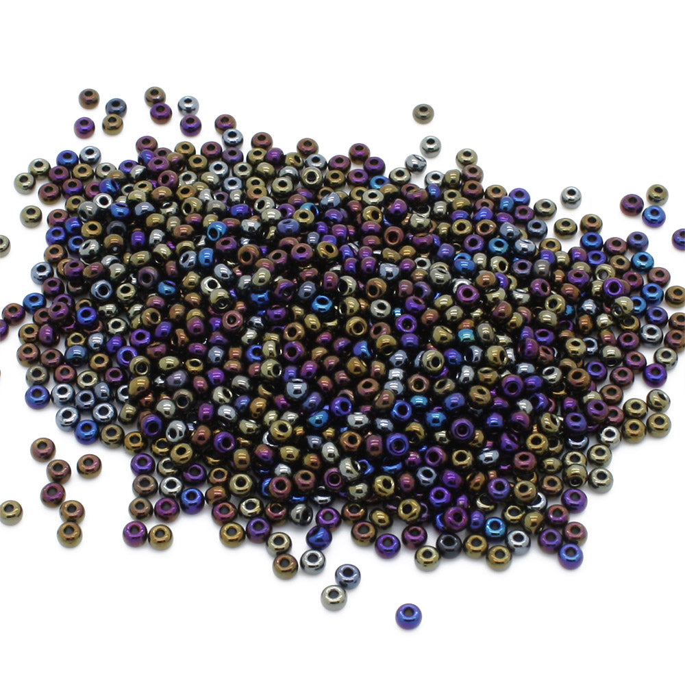 Rainbow Czech Black Glass Rocaille/Seed 8/0-Pack of 5g