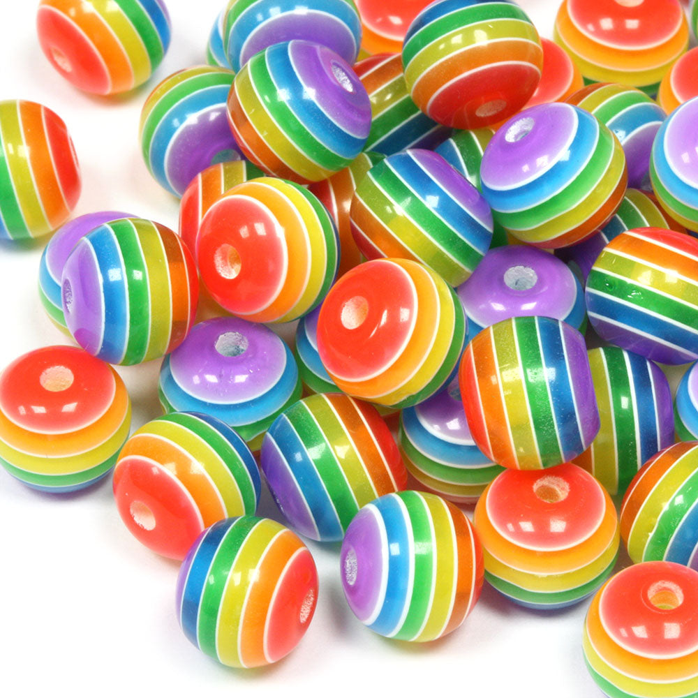 Resin Stripy Rounds 10mm Rainbow - Pack of 50