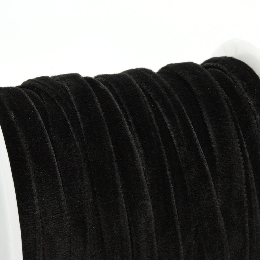 Velvet Ribbon Black 4mm - Reel of 20yds